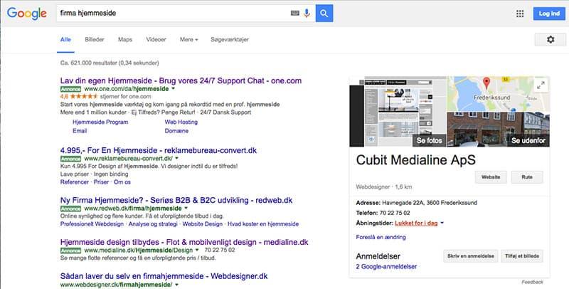 Google My Business søgeresultat ved søgeord