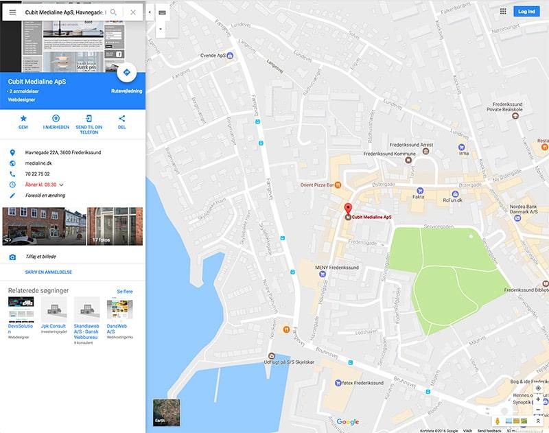 Søgeresultat i Google Maps