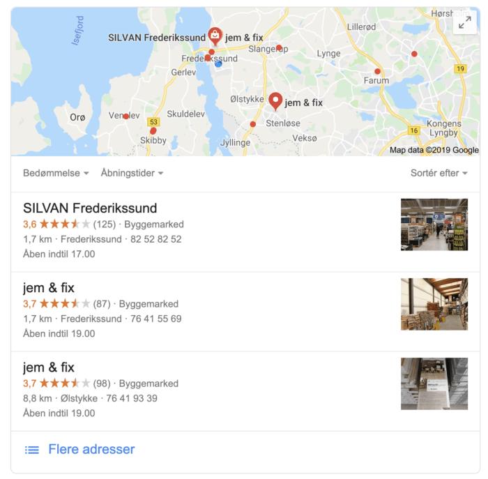 Google my business søgeresultat