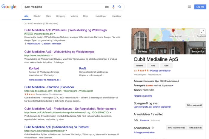 My Business søgeresultat